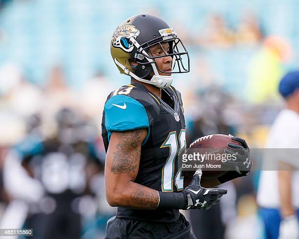 Wide Receiver Rashad Greene of the Jacksonville Jaguars during a preseason game against the Pittsburgh Steelers at EverBank Field on August 14 2015...