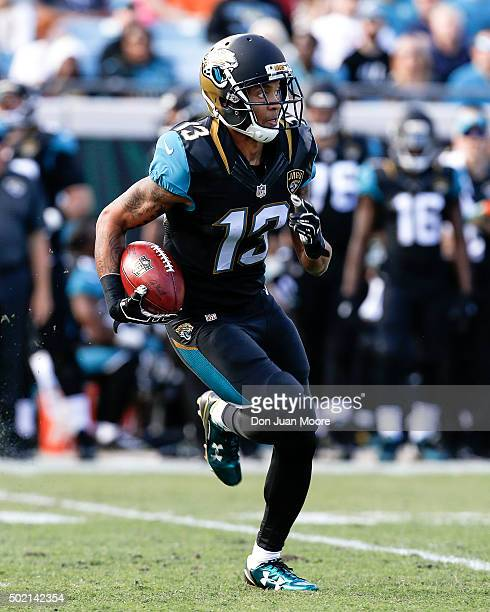 Wide Receiver Rashad Greene of the Jacksonville Jaguars returns a punt during the game against the Atlanta Falcons at EverBank Field on December 20...