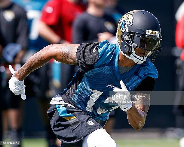 Wide Receiver Rashad Greene of the Jacksonville Jaguars runs a pass route during Training Camp at Florida Blue Health and Wellness Practice Fields on...