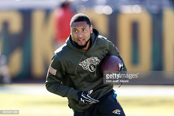 Wide Receiver Rashad Greene of the Jacksonville Jaguars warms up before the game against the Atlanta Falcons at EverBank Field on December 20 2015 in...