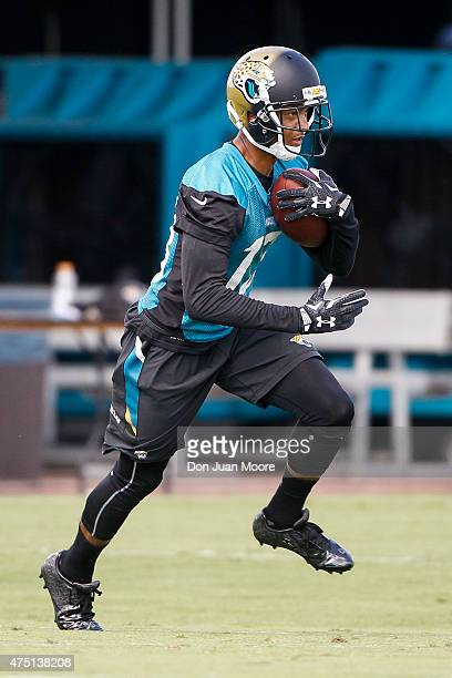 Wide Receiver Rashad Greene of the Jacksonville Jaguars works out during OTA's at Everbank Field Stadium at the Florida Blue Health and Wellness...