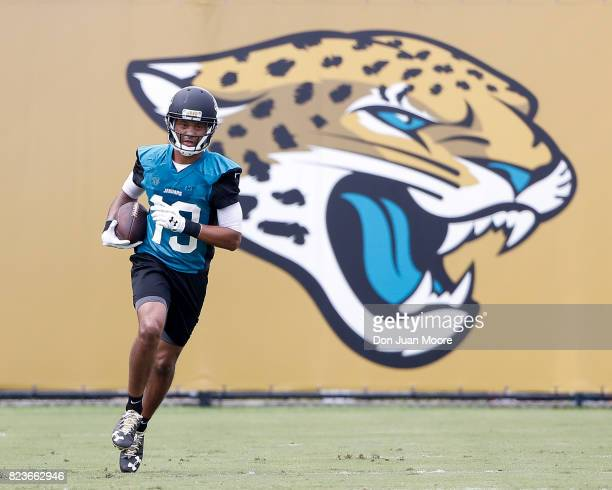 Wide Receiver Rashad Greene Sr #13 of the Jacksonville Jaguars works out during Training Camp at Florida Blue Health and Wellness Practice Fields on...