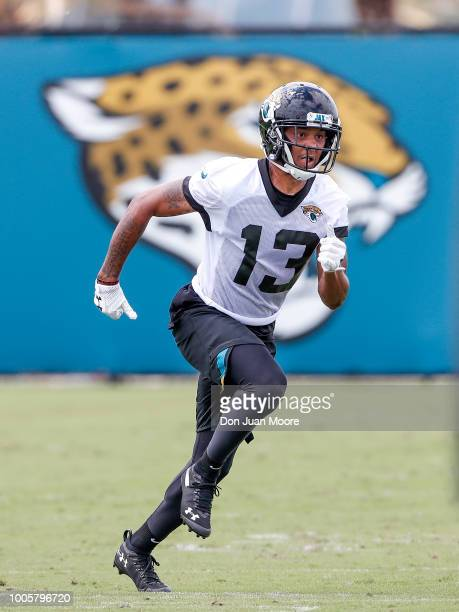 Wide Receiver Rashad Greene Sr of the Jacksonville Jaguars runs a route during Training Camp at Dream Finders Homes Practice Complex on July 26 2018...
