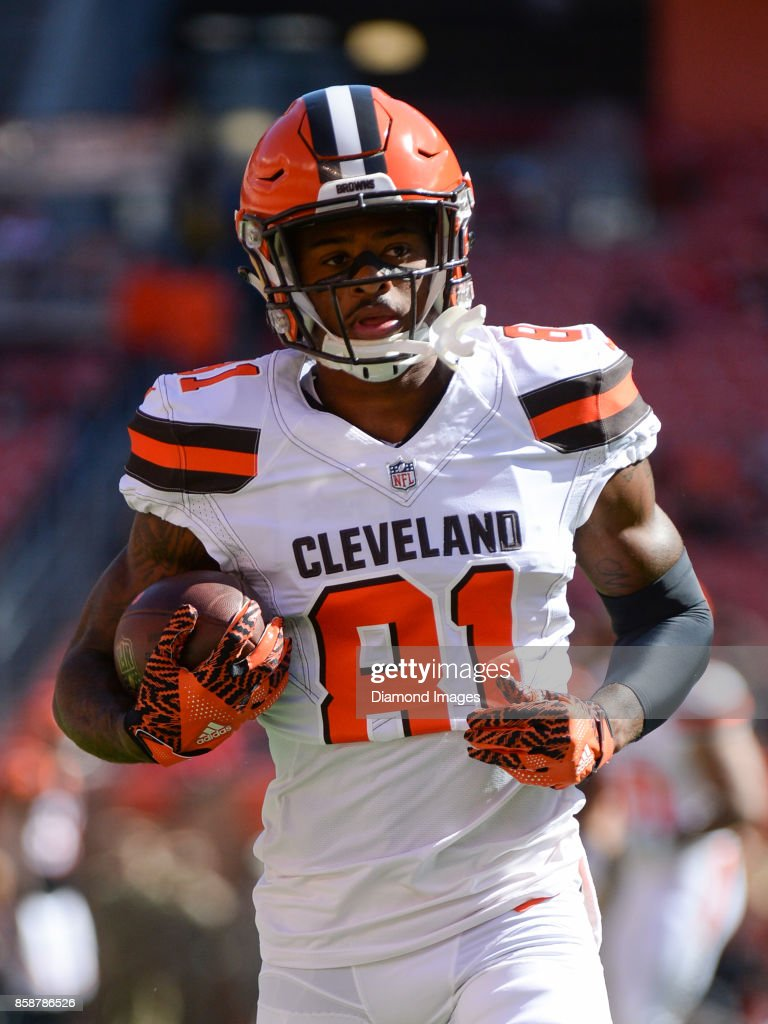 ... Wide receiver Rashard Higgins 81 of the Cleveland Browns carries the  ball prior to ... f2e7f0ed1