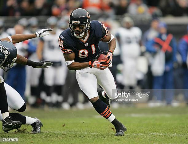 Wide receiver Rashied Davis of the Chicago Bears carries the ball against the Seattle Seahawks during their NFC Divisional Playoff game on January 14...