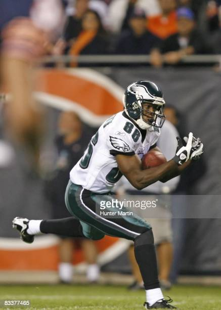 Wide receiver Reggie Brown of the Philadelphia Eagles catches a pass during a game against the Chicago Bears on September 28, 2008 at Soldier Field...