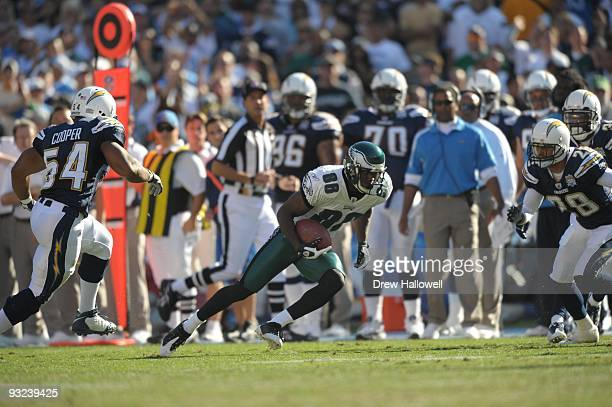 Wide receiver Reggie Brown of the Philadelphia Eagles runs the ball during the game against the San Diego Chargers on November 15, 2009 at Qualcomm...