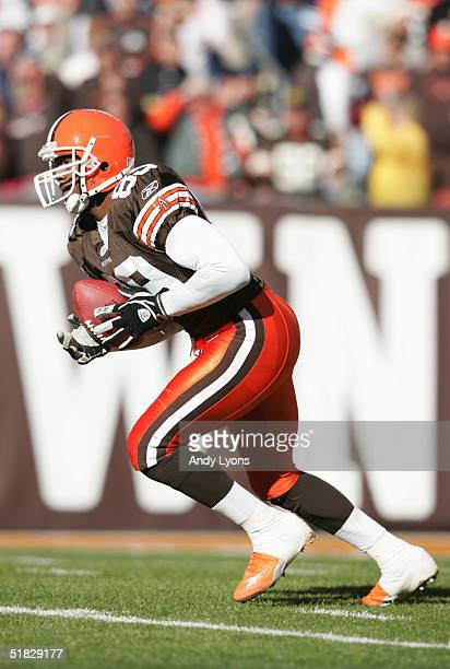 Wide receiver Richard Alston of the Cleveland Browns carries the ball during the game against the Pittsburgh Steelers at Cleveland Browns Stadium on...