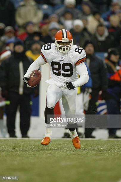 Wide receiver Richard Alston of the Cleveland Browns carries the ball against the Buffalo Bills during the game on December 12, 2004 at Ralph Wilson...