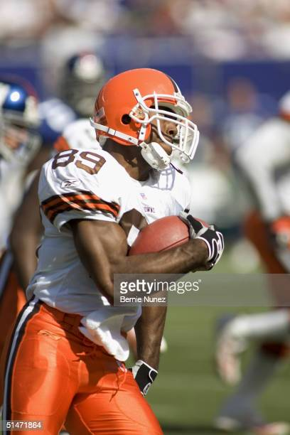 Wide receiver Richard Alston of the Cleveland Browns returns a kickoff during the game against the New York Giants at Giants Stadium on September 26,...