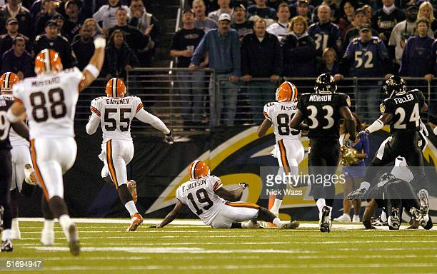 Wide receiver Richard Alston of the Cleveland Browns runs back the opening kickoff 93 yards for a touchdown against the Baltimore Ravens on November...