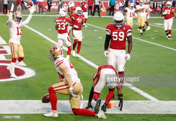 Wide receiver Richie James reacts after his teammate fullback Kyle Juszczyk of the San Francisco 49ers scored a touchdown during the second half...