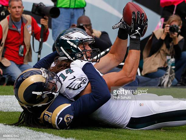 Wide receiver Riley Cooper of the Philadelphia Eagles catches a touchdown pass in the second quarter with defensive back Janoris Jenkins of the St...