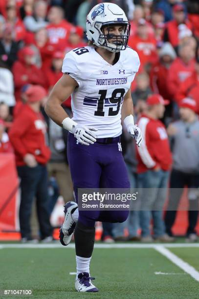 Wide receiver Riley Lees of the Northwestern Wildcats in action against the Nebraska Cornhuskers at Memorial Stadium on November 4 2017 in Lincoln...