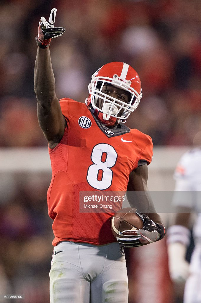 Wide receiver Riley Ridley #8 of the Georgia Bulldogs points to the crowd after a big play during their game against the Auburn Tigers at Sanford Stadium on November 12, 2016 in Athens, Georgia. The Georgia Bulldogs defeated the Auburn Tigers 13-7.