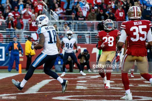 Wide receiver Rishard Matthews of the Tennessee Titans scores a touchdown against the San Francisco 49ers during the fourth quarter at Levi's Stadium...