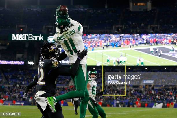 Wide receiver Robby Anderson of the New York Jets catches a two point conversion during the fourth quarter against the Baltimore Ravens at M&T Bank...