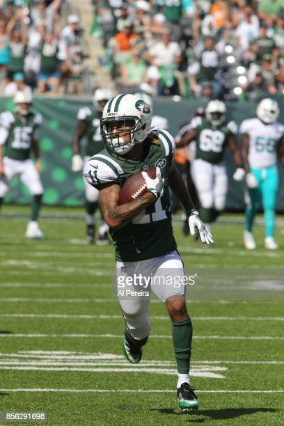 Wide Receiver Robby Anderson of the New York Jets has a 69yard Touchdown against the Miami Dolphins on September 24 2017 at MetLife Stadium in East...