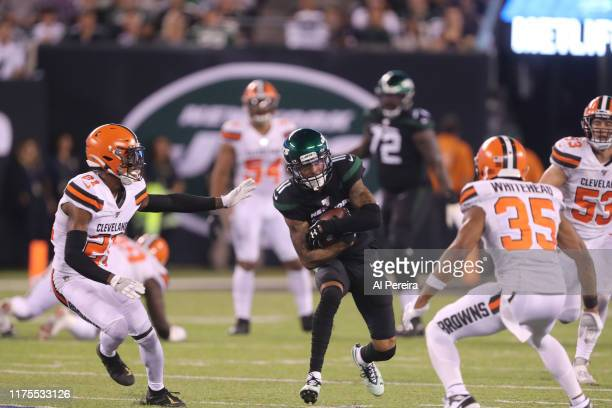 Wide Receiver Robby Anderson of the New York Jets has a reception against the Cleveland Browns in the second half at MetLife Stadium on September 16,...