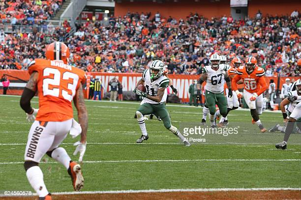 Wide Receiver Robby Anderson of the New York Jets has a short gain in the Red Zone against the Cleveland Browns at FirstEnergy Stadium on October 30,...