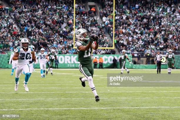 Wide receiver Robby Anderson of the New York Jets makes a catch and scores a touchdown during the third quarter of the game at MetLife Stadium on...