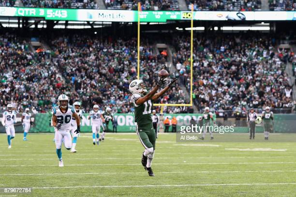 Wide receiver Robby Anderson of the New York Jets reaches for a catch which lead to a touchdown during the third quarter of the game at MetLife...