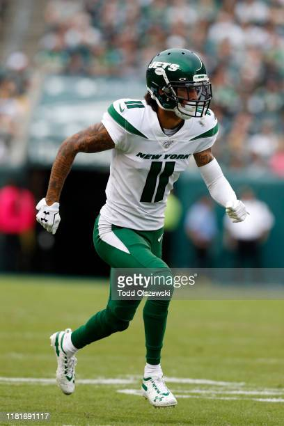 Wide Receiver Robby Anderson of the New York Jets runs down the field during the second half against the Philadelphia Eagles at Lincoln Financial...