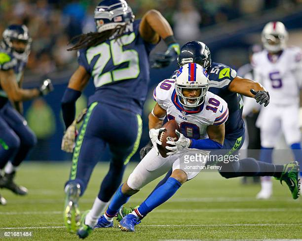Wide receiver Robert Woods of the Buffalo Bills makes a catch against the Seattle Seahawks at CenturyLink Field on November 7 2016 in Seattle...