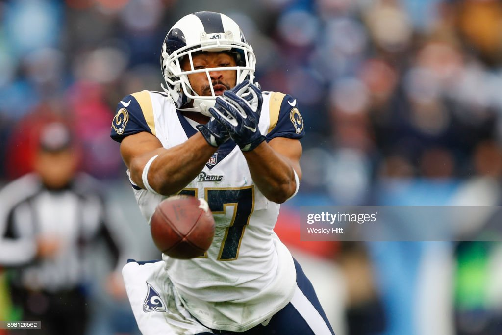Wide Receiver Robert Woods #17 of the Los Angeles Rams attempts to catch a pass against the Tennessee Titians at Nissan Stadium on December 24, 2017 in Nashville, Tennessee.