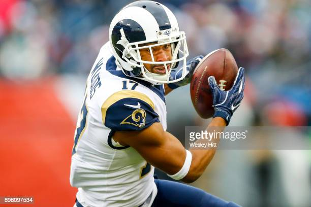 Wide Receiver Robert Woods of the Los Angeles Rams carries the ball against the Tennessee Titans at Nissan Stadium on December 24 2017 in Nashville...