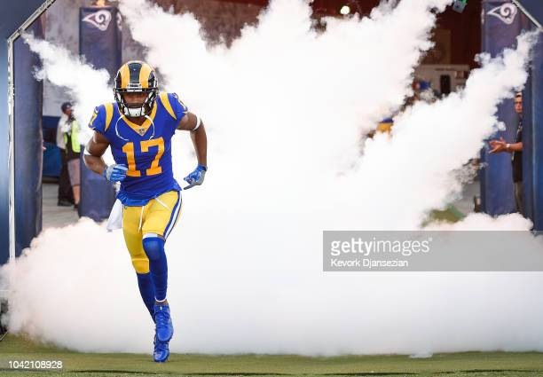 Wide receiver Robert Woods of the Los Angeles Rams enters the stadium for the game against the Minnesota Vikings at Los Angeles Memorial Coliseum on...