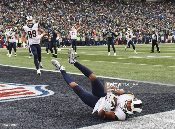 Wide receiver Robert Woods of the Los Angeles Rams makes a 1 yard touchdown against the Seattle Seahawks during the 2nd quarter of the game at...