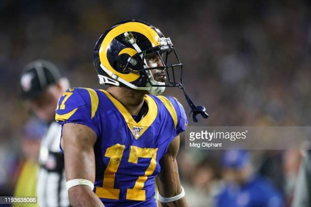 Wide receiver Robert Woods of the Los Angeles Rams reacts in the game against the Seattle Seahawks at Los Angeles Memorial Coliseum on December 08,...
