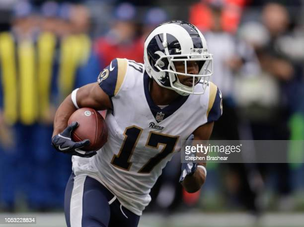 Wide receiver Robert Woods of the Los Angeles Rams runs with the ball on an end-around during game against the Seattle Seahawks at CenturyLink Field...