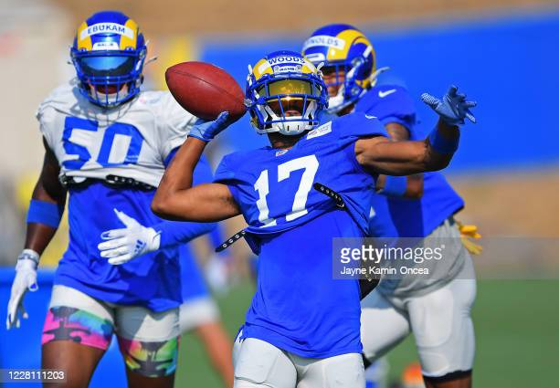 Wide receiver Robert Woods of the Los Angeles Rams throws a pass during special teams drills in training camp on August 19 2020 at the practice...