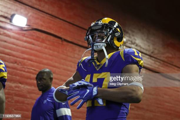 Wide receiver Robert Woods of the Los Angeles Rams walks through the tunnel to the field for the game against the Seattle Seahawks at Los Angeles...