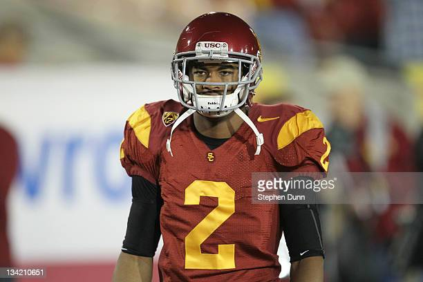 Wide receiver Robert Woods of the USC Trojans gets ready for the game with the UCLA Bruins at the Los Angeles Memorial Coliseum on November 26 2011...