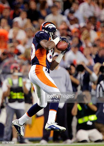 Wide receiver Rod Smith of the Denver Broncos catches a pass against the Kansas City Chiefs September 26, 2005 at Invesco Field at Mile High stadium...