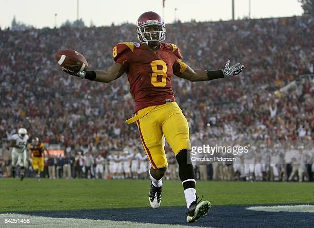 Wide receiver Ronald Johnson of the USC Trojans celebrates after scoring a 19 yard touchdown reception during the 95th Rose Bowl Game presented by...