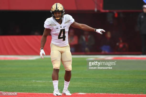 Wide receiver Rondale Moore of the Purdue Boilermakers prepares for the snap against the Nebraska Cornhuskers at Memorial Stadium on September 29...