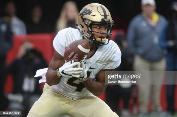 Wide receiver Rondale Moore of the Purdue Boilermakers returns a kick in the second half against the Nebraska Cornhuskers at Memorial Stadium on...