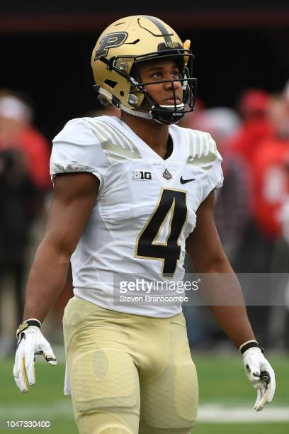 Wide receiver Rondale Moore of the Purdue Boilermakers warms up before the game against the Nebraska Cornhuskers at Memorial Stadium on September 29...