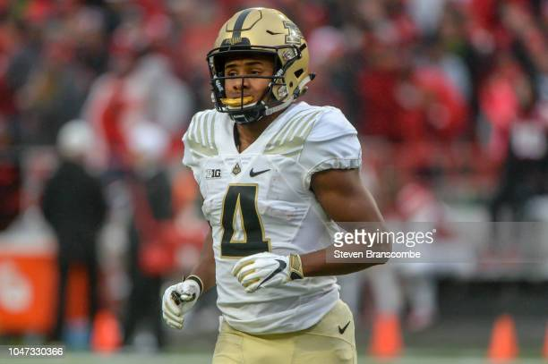 Wide receiver Rondale Moore runs a route against the Nebraska Cornhuskersof the Purdue Boilermakers at Memorial Stadium on September 29 2018 in...