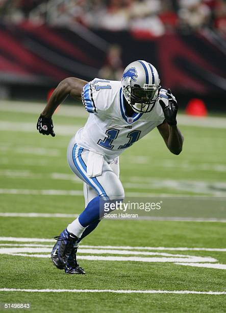 Wide receiver Roy Williams of the Detroit Lions takes off at the snap during the game against the Atlanta Falcons at the Georgia Dome on October 10,...