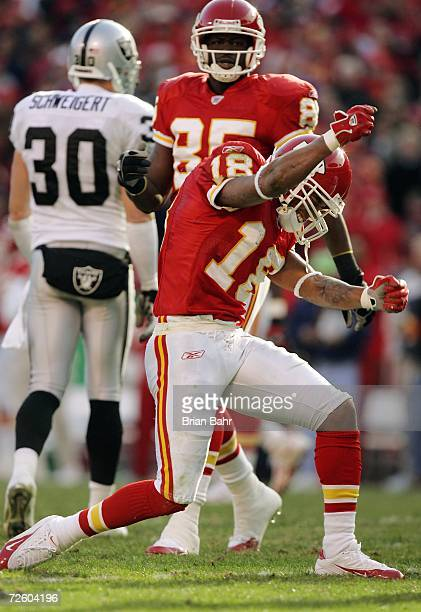 Wide receiver Samie Parker of the Kansas City Chiefs celebrates after setting up a touchdown against the Oakland Raiders with a 16yard catch just...