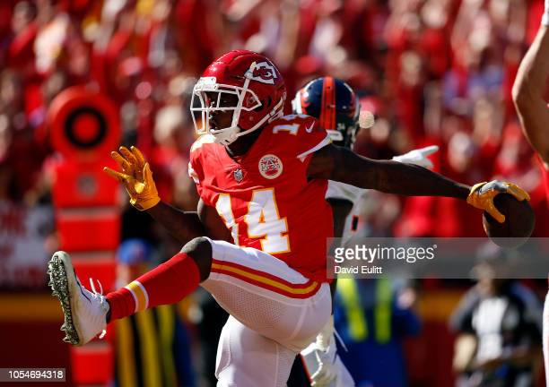 Wide receiver Sammy Watkins of the Kansas City Chiefs catches a pass for a touchdown during the game against the Denver Broncos at Arrowhead Stadium...