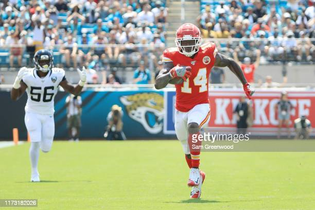 Wide receiver Sammy Watkins of the Kansas City Chiefs runs a pass reception in for a touchdown in the first quarter of the game against the...