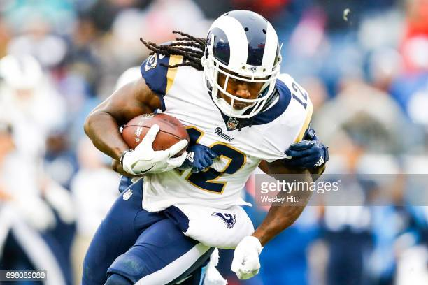 Wide Receiver Sammy Watkins of the Los Angeles Rams carries the ball against the Tennessee Titians at Nissan Stadium on December 24 2017 in Nashville...