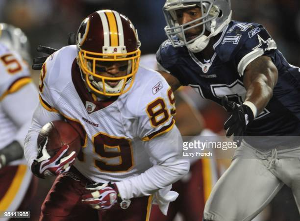Wide receiver Santana Moss of the Washington Redskins runs with the ball after a catch against the Dallas Cowboys at FedEx Field on December 27 2009...
