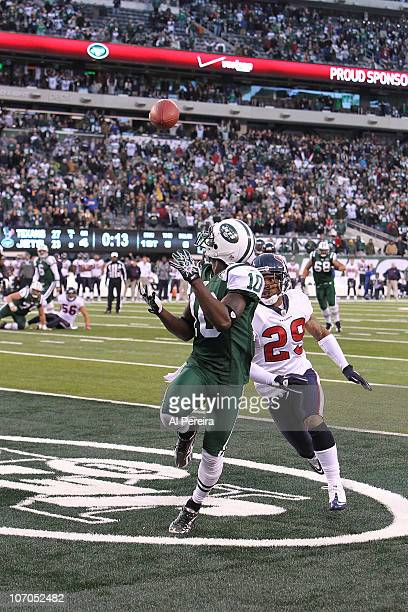 Wide Receiver Santonio Holmes of the New York Jets scores a game winning touchdown with 10 seconds left in the game to defeat the Houston Texans 3027...